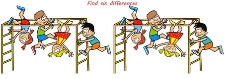 Monkey gym, game, find six differences Stock Image
