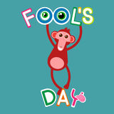 Monkey Hang On Letters Fool Day April Holiday Greeting Card Banner Stock Image