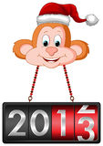 Monkey Hanging 2013 Countdown Tag. This is an illustration of a monkey hanging 2013 countdown tag in his neck Stock Photo