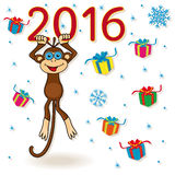Monkey hangs on the digit of 2016 inscription. Funny Monkey holds for the digit of inscription 2016 and hangs on it, cartoon vector artwork on the winter Stock Images