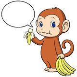 The monkey happily eating a banana Stock Images