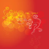 Monkey with happy New Year greeting card, 2016. New Year Stock Photography