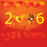 Monkey with happy New Year greeting card, 2016. New Year Stock Photo