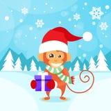 Monkey Happy Smile Wear Santa Hat Hold Gift Box Royalty Free Stock Photos