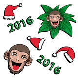 Monkey and hats New year 2016 - vector set. Christmas set of  funny cartoon monkey icons. Symbol of the New Year 2016 Stock Images