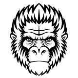 Monkey head. Ape head logo in black and white. This is vector illustration ideal for a mascot and tattoo or T-shirt graphic Stock Photos
