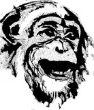 Monkey head. Computer Illustration, detail chimpanzee, monkey head royalty free illustration