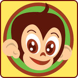 Monkey-head. Cute logo or monkey mascot for several uses Royalty Free Stock Image