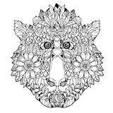 Monkey head flower icon-hand drawn design Royalty Free Stock Photography