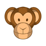 Monkey head icon, cartoon style. Monkey head icon in cartoon style on a white background Stock Photos