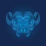 Monkey head icon line art vector illustration. Wild animal pictogram , line art Royalty Free Stock Photos