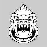 Monkey head. Illustration monkey head with big sharp canine in vector illustration