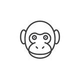 Monkey head line icon, outline vector sign Royalty Free Stock Image