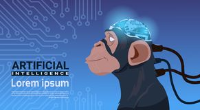 Monkey Head With Modern Cyborg Brain Over Circuit Motherboard Background Artificial Intelligence Concept Royalty Free Stock Images