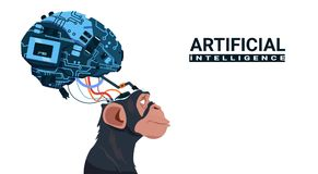 Monkey Head With Modern Cyborg Brain Over White Background Artificial Intelligence Concept Stock Image