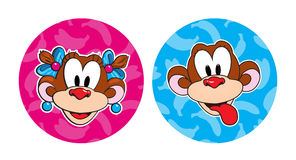 Monkey head in the round frame. Royalty Free Stock Photo