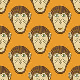 Monkey head seamless. Vector stylized background. For textiles, print, new year wrapping paper royalty free illustration