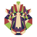Monkey head triangular icon - low poly vector. Monkey head triangular icon , geometric trendy low poly design. Vector illustration ready poster or print shop Stock Photo