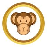 Monkey head vector icon, cartoon style. Monkey head vector icon in golden circle, cartoon style isolated on white background Stock Photo