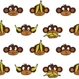 Monkey heads background. Seamless wallpaper background with various monkey heads Stock Images