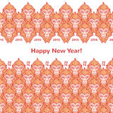 Monkey heads new year horizontal borders with greetings. Monkey heads new year borders seamless in horizontal direction. Year of the fire or red monkey 2016 Vector Illustration