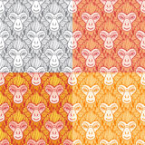 Monkey heads new year seamless vector pattern. Stock Photography