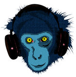 Monkey with headset Royalty Free Stock Photography