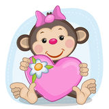Monkey and heart vector illustration