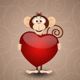 Monkey with heart Stock Photography