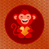 Monkey with heart. Vector illustration of a monkey with golden heart Stock Images