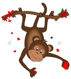 Monkey with Hearts stock illustration