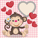 Monkey and hearts. Greeting card Monkey and hearts Royalty Free Stock Image