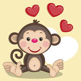 Monkey and hearts. Greeting card Monkey and hearts Royalty Free Stock Photography