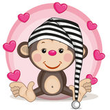 Monkey and hearts. Greeting card Monkey and hearts Stock Images