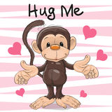 Monkey with hearts royalty free illustration