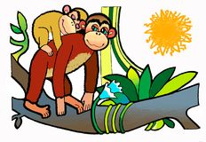 Monkey and her baby, colouring book. Picture colouring pages, artistic design, illustrations. Kids painted, draving paint,sketch.nillustration npicture is from a Stock Photos