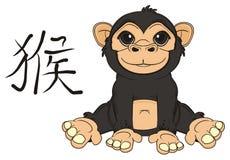 Monkey with hierogliph. Smiling monkey sit with black chiness symbol monkey Royalty Free Stock Photo