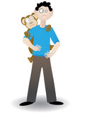 Monkey on his back - Vector. Man standing with a monkey holding onto his back Royalty Free Stock Photography