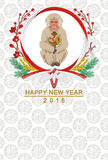 Monkey hold Mallet , Japanese new year card Stock Images