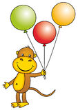 Monkey holding balloons Royalty Free Stock Photography