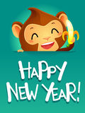 Monkey holding a Banana Celebrating Happy New Year Stock Photography