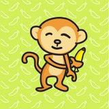 Monkey holding a banana vector illustration. Monkey holding a banana with a banana background, vector illustration Stock Image