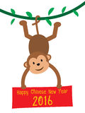 Monkey holding board Happy Chinese New Year 2016 Stock Photos
