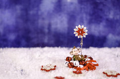 Monkey holding a Christmas wreath in the hands of a snowflake. Stock Photography