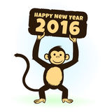 Monkey holding Happy New Year 2016 greeting card. Happy New Year 2016 vector background and banner with monkey (Year of monkey Stock Photos