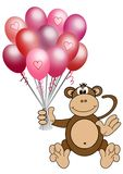 Monkey holding heart balloons Stock Images