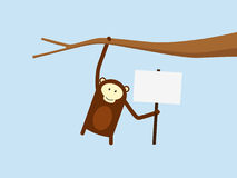 Monkey Holding Sign Stock Photography