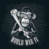 Monkey holding tibia. Vintage black engraving. Monkey holding tibia. World War IV lettering. Vintage black engraving illustration for poster and t-shirt design Stock Photos