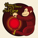 Monkey Holding a Traditional Lantern from Chinese new Year, Vector Illustration stock images