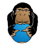 Monkey holding the world cartoon Royalty Free Stock Photography